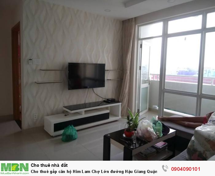 Cho thuê gấp căn hộ Him Lam Chợ Lớn đường Hậu Giang Quận 6. Diện tích 82m2, 2PN