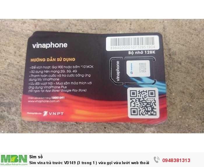 Sim vina trả trước VD149 (3 trong 1 ) vừa gọi vừa lướt web thoải ga mà giá cực rẽ