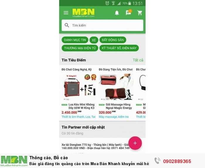 Bán hàng online Báo giá đăng tin quảng cáo trên Mua Bán Nhanh năm 2019