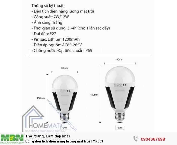 Bóng đèn tích điện năng lượng mặt trời TYN0034