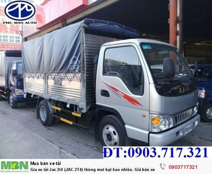 Gía xe tải Jac 2t4 (JAC 2T4) thùng mui bạt bao nhiêu. Giá bán xe tải Jac 2.4 tấn/2T4 công nghệ Isuzu.