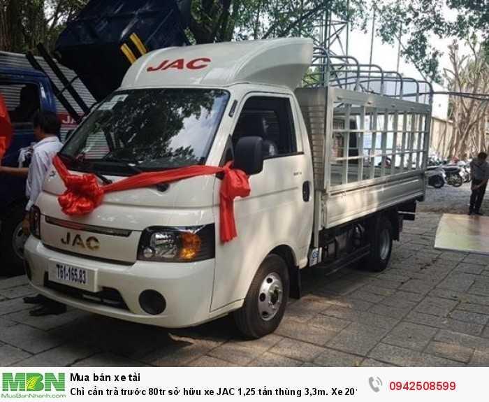 Chỉ cần trả trước 80tr sở hữu xe JAC 1,25 tấn thùng 3,3m. Xe 2018 Euro 4 bán tại Đà Nẵng
