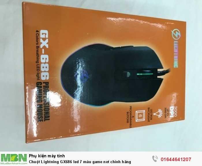 Chuột Lightning GX686led 7 màu game net chính hãng1