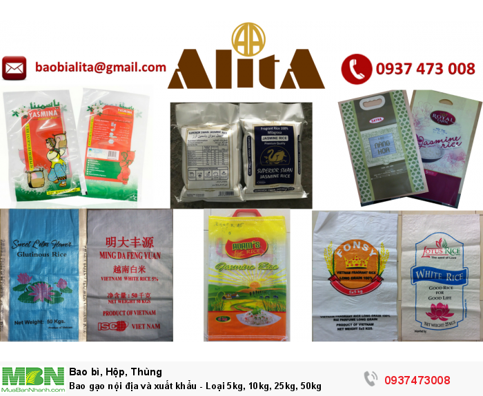 Bao gạo nội địa và xuất khẩu - Loại 5kg, 10kg, 25kg, 50kg0