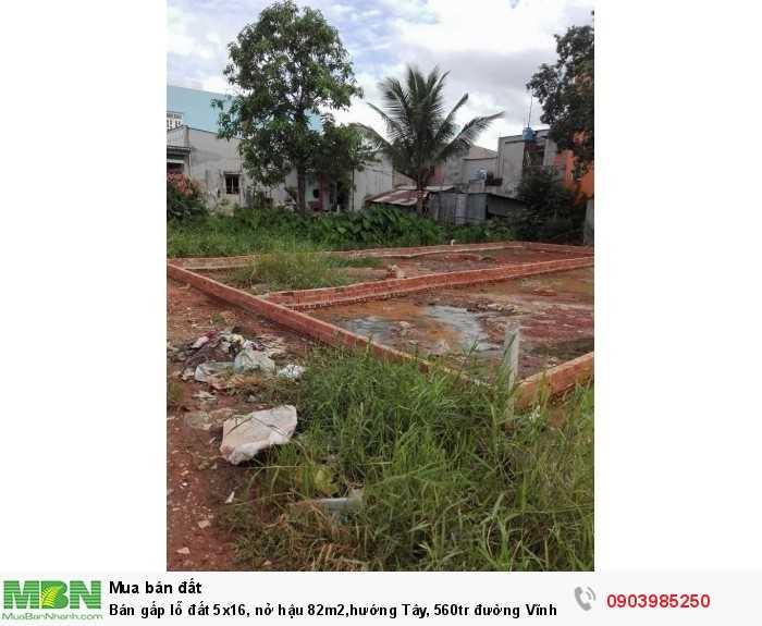 Bán gấp lỗ đất 5x16, nở hậu 82m2,hướng Tây, 560tr đường Vĩnh Lộc, Vĩnh Lộc B, B.Chánh, xây dựng ngay