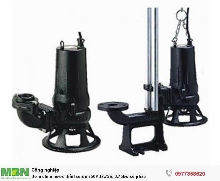 Bơm chìm nước thải tsurumi 50PU2.75S, 0.75kw có phao 2