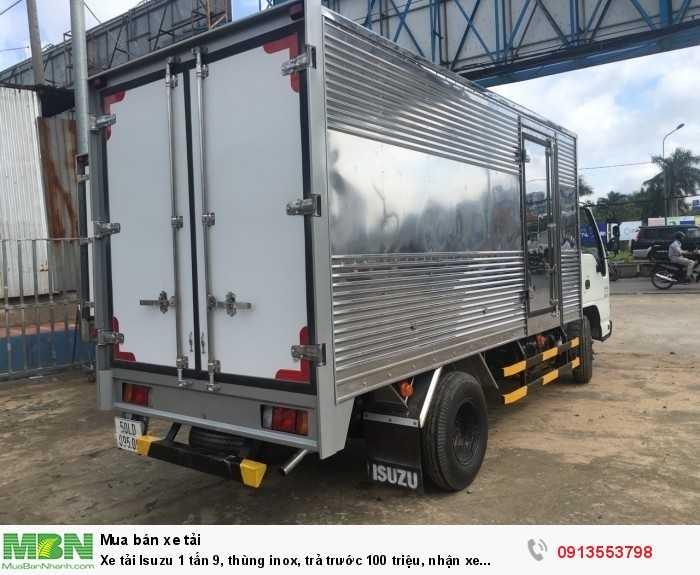 Xe tải Isuzu 1 tấn 9, thùng inox, trả trước 100 triệu, nhận xe ngay 1