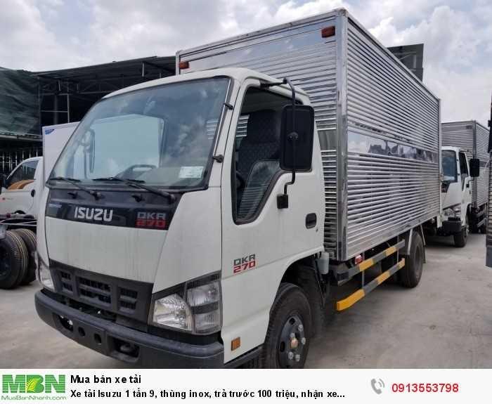 Xe tải Isuzu 1 tấn 9, thùng inox, trả trước 100 triệu, nhận xe ngay 2