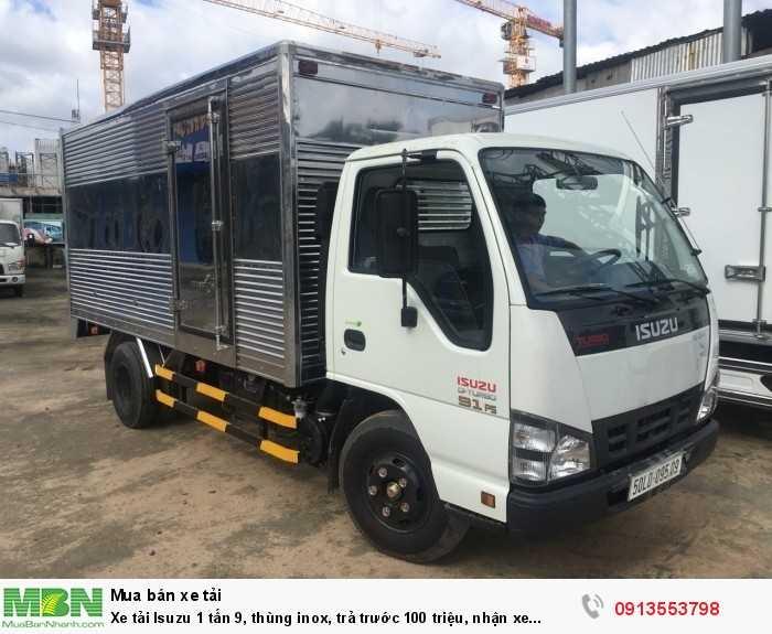 Xe tải Isuzu 1 tấn 9, thùng inox, trả trước 100 triệu, nhận xe ngay 3