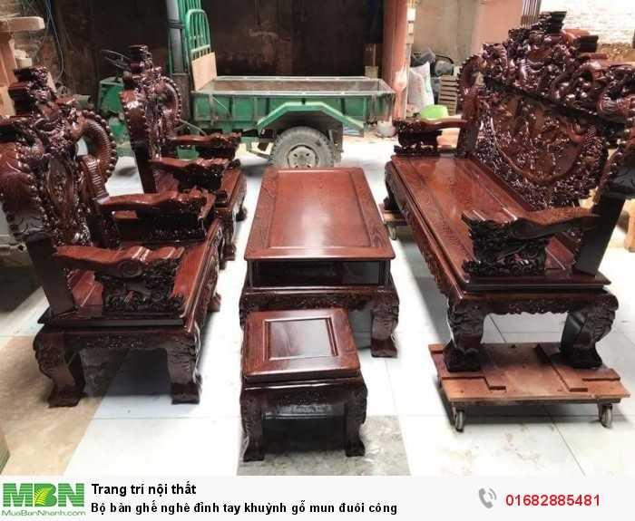 Bộ bàn ghế nghê đỉnh tay khuỳnh gỗ mun đuôi công0