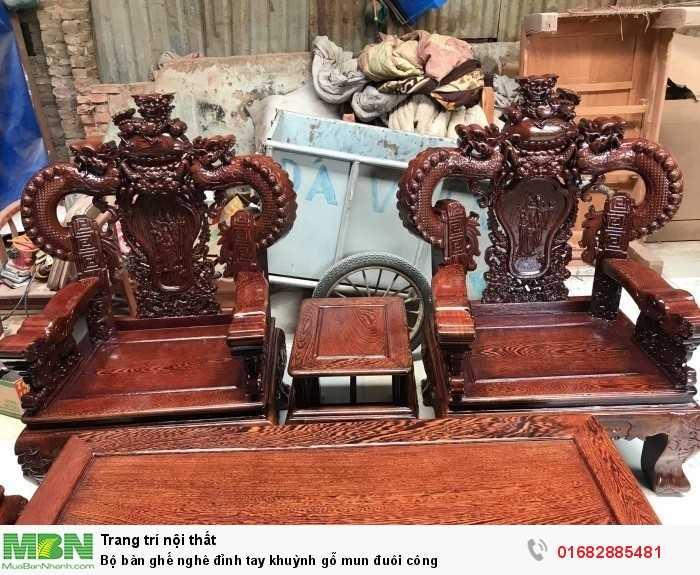 Bộ bàn ghế nghê đỉnh tay khuỳnh gỗ mun đuôi công1