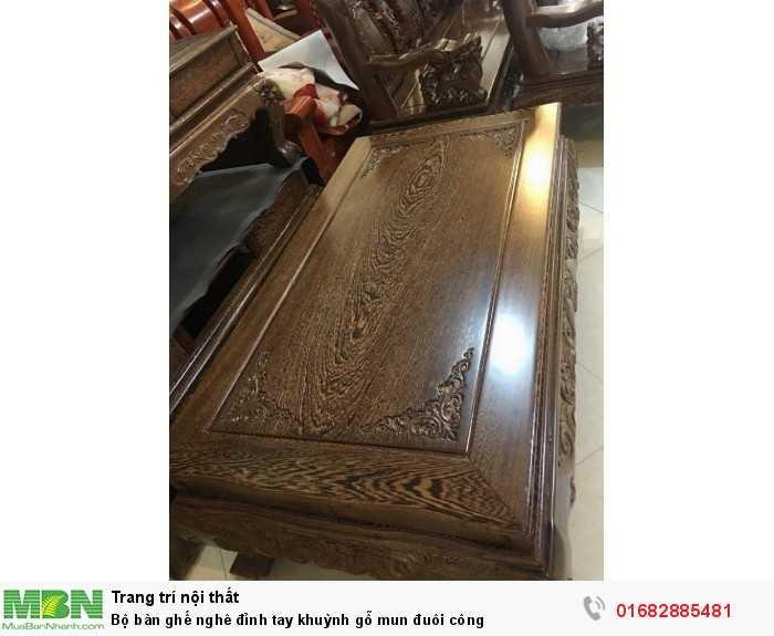 Bộ bàn ghế nghê đỉnh tay khuỳnh gỗ mun đuôi công2
