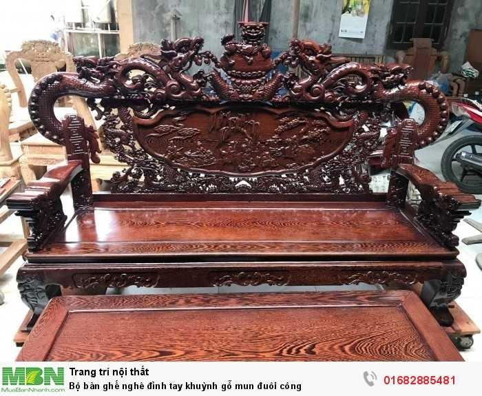 Bộ bàn ghế nghê đỉnh tay khuỳnh gỗ mun đuôi công3
