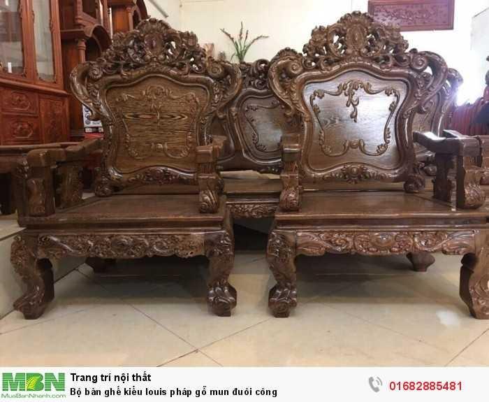 Bộ bàn ghế kiểu louis pháp gỗ mun đuôi công0