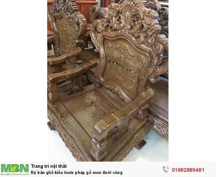 Bộ bàn ghế kiểu louis pháp gỗ mun đuôi công2