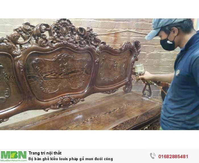 Bộ bàn ghế kiểu louis pháp gỗ mun đuôi công3