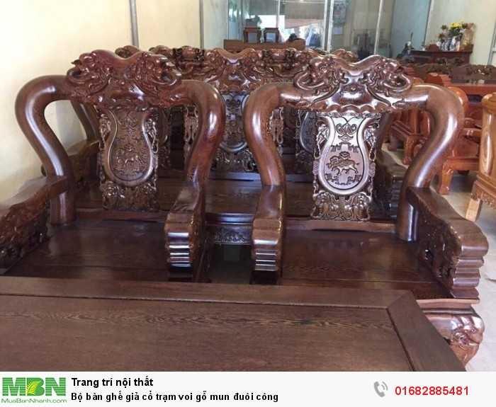 Bộ bàn ghế giả cổ trạm voi gỗ mun đuôi công0