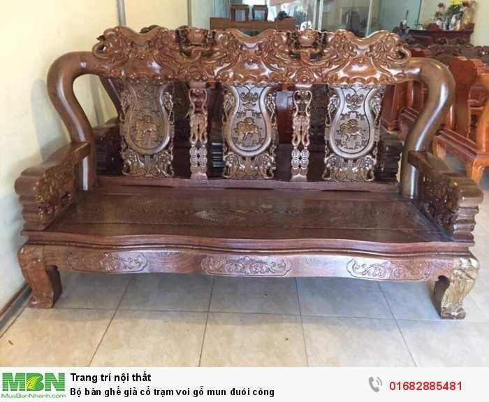 Bộ bàn ghế giả cổ trạm voi gỗ mun đuôi công1