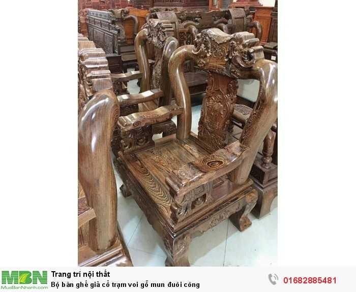 Bộ bàn ghế giả cổ trạm voi gỗ mun đuôi công2