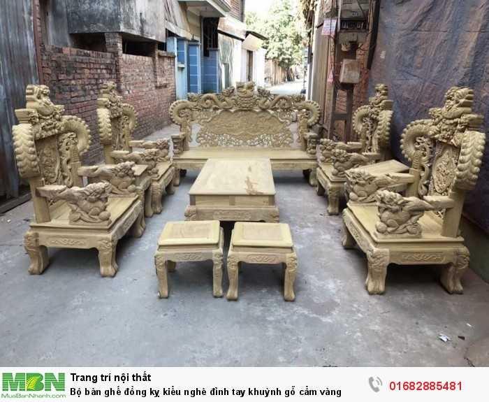 Bộ bàn ghế đồng kỵ kiểu nghê đỉnh tay khuỳnh gỗ cẩm vàng0
