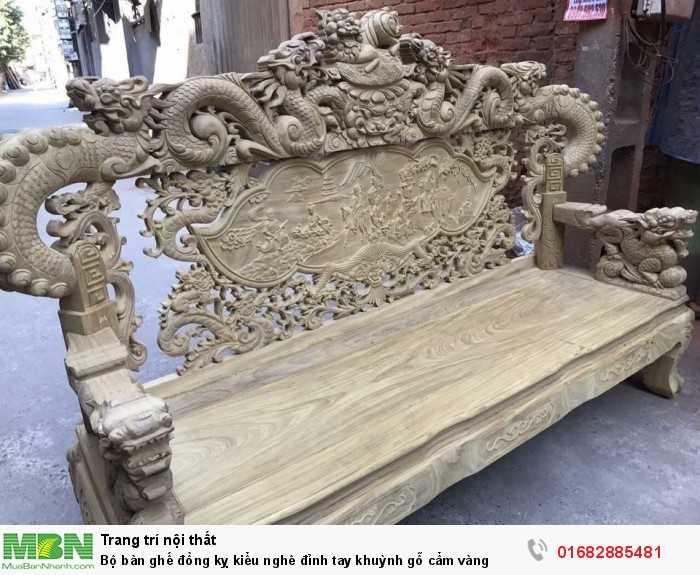 Bộ bàn ghế đồng kỵ kiểu nghê đỉnh tay khuỳnh gỗ cẩm vàng1