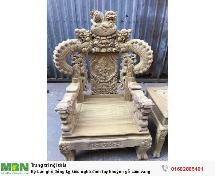 Bộ bàn ghế đồng kỵ kiểu nghê đỉnh tay khuỳnh gỗ cẩm vàng2