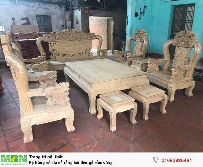 Bộ bàn ghế giả cổ rồng bát tiên gỗ cẩm vàng0