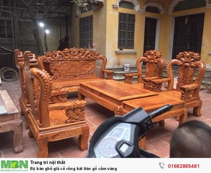 Bộ bàn ghế giả cổ rồng bát tiên gỗ cẩm vàng1