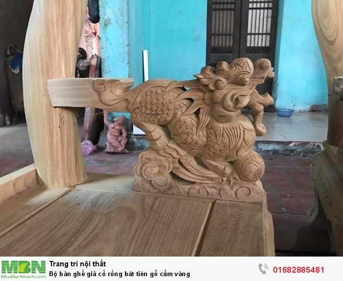 Bộ bàn ghế giả cổ rồng bát tiên gỗ cẩm vàng2