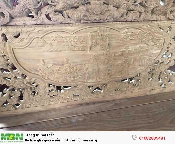 Bộ bàn ghế giả cổ rồng bát tiên gỗ cẩm vàng5