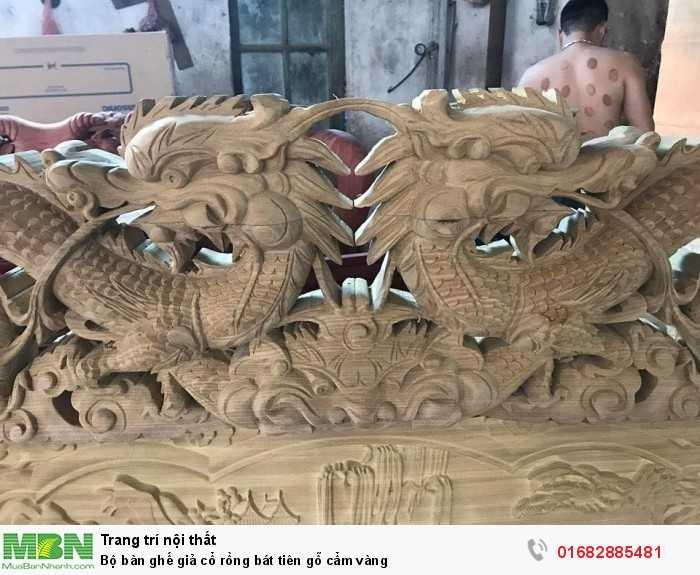 Bộ bàn ghế giả cổ rồng bát tiên gỗ cẩm vàng6