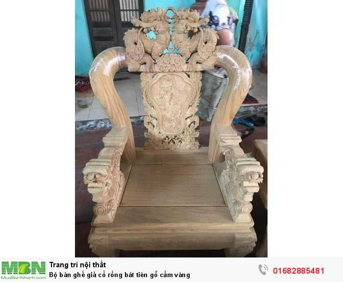 Bộ bàn ghế giả cổ rồng bát tiên gỗ cẩm vàng8