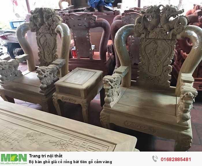 Bộ bàn ghế giả cổ rồng bát tiên gỗ cẩm vàng9