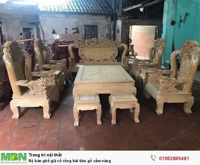 Bộ bàn ghế giả cổ rồng bát tiên gỗ cẩm vàng10