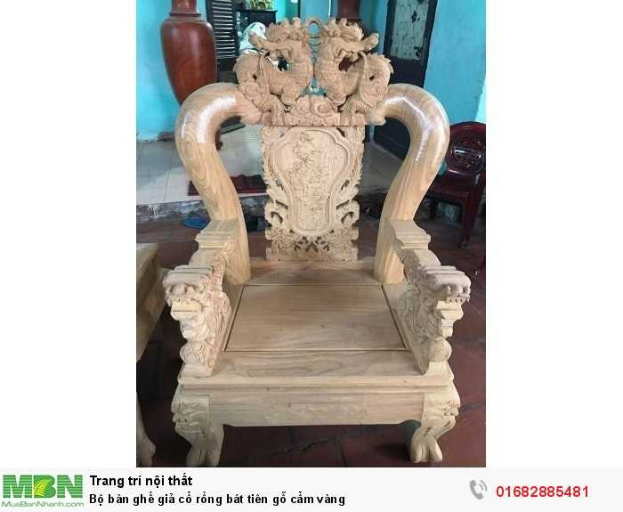 Bộ bàn ghế giả cổ rồng bát tiên gỗ cẩm vàng12