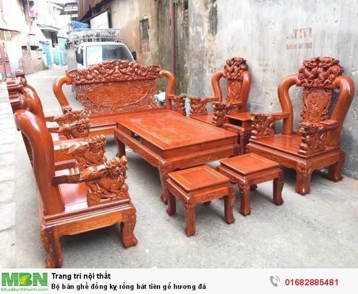 Bộ bàn ghế đồng kỵ rồng bát tiên gỗ hương đá1