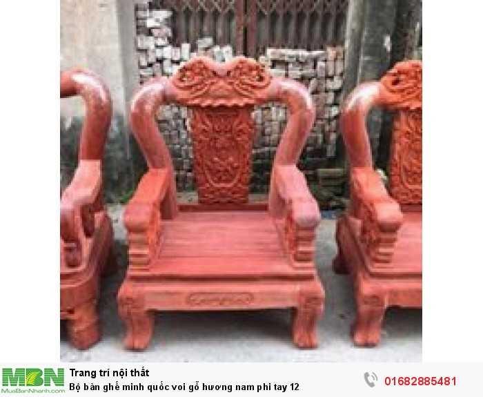 Bộ bàn ghế minh quốc voi gỗ hương nam phi tay 123