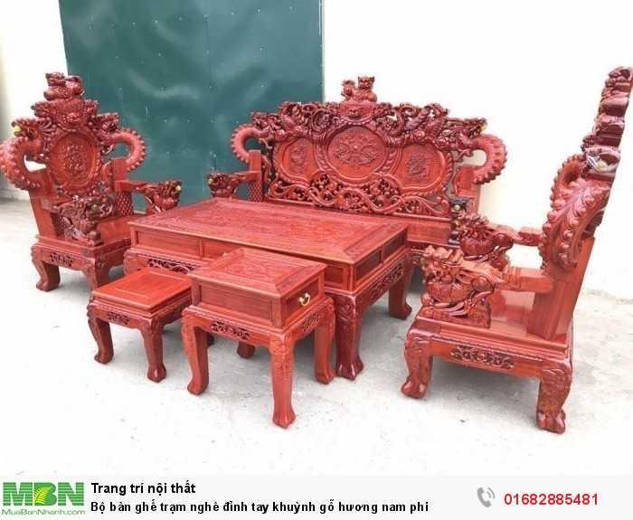 Bộ bàn ghế trạm nghê đỉnh tay khuỳnh gỗ hương đỏ nam phi0