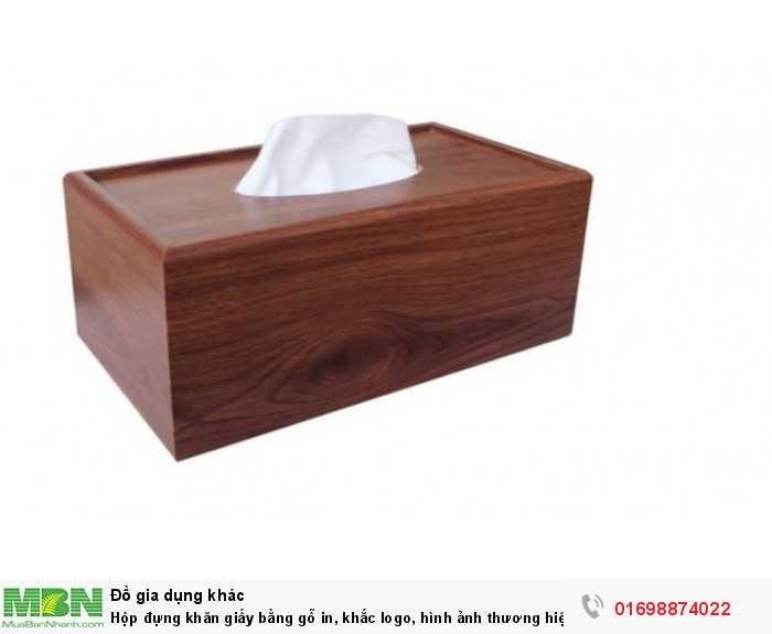 Hộp đựng khăn giấy bằng gỗ in, khắc logo, hình ảnh thương hiệu0
