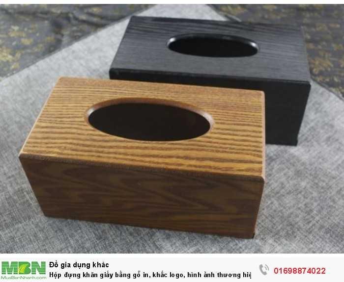 Hộp đựng khăn giấy bằng gỗ in, khắc logo, hình ảnh thương hiệu1