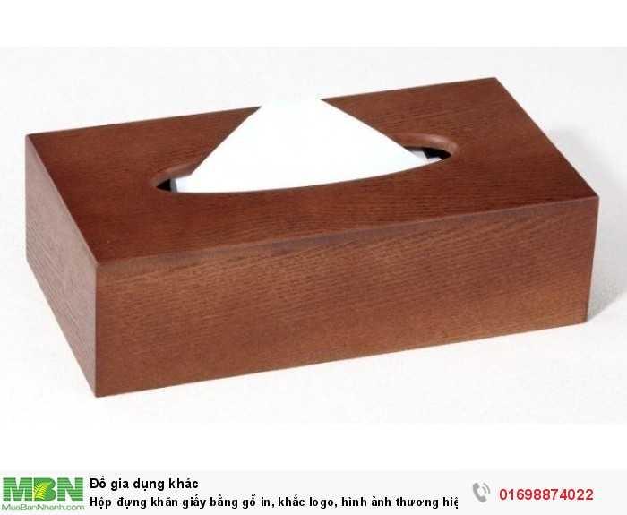 Hộp đựng khăn giấy bằng gỗ in, khắc logo, hình ảnh thương hiệu3