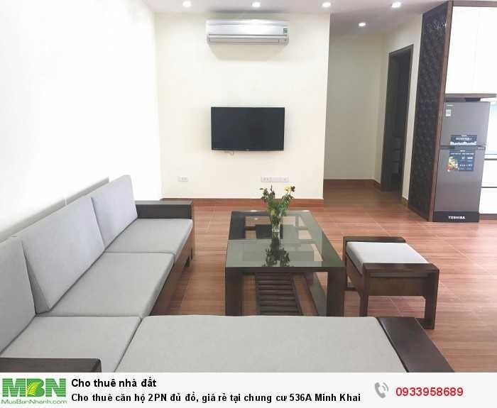 Cho thuê căn hộ 2PN đủ đồ, giá rẻ tại chung cư 536A Minh Khai