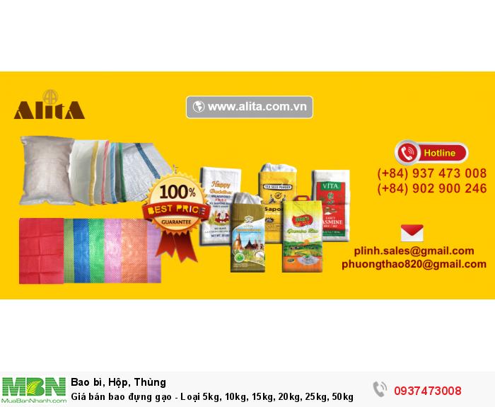Giá bán bao đựng gạo - Loại 5kg, 10kg, 15kg, 20kg, 25kg, 50kg1