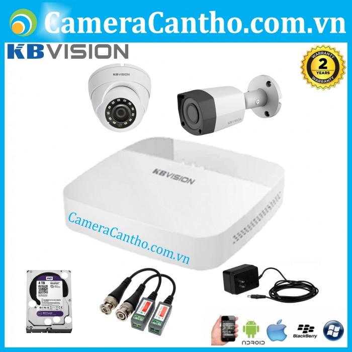 Bộ 2 Camera Quan sát Hồng Ngoại KBVision HD 1.0MP4