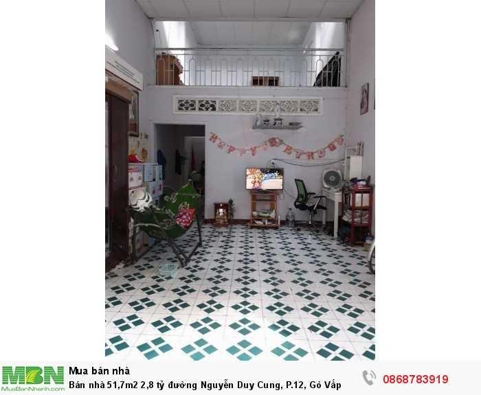 Bán nhà 51,7m2 2,8 tỷ đường Nguyễn Duy Cung, P.12, Gò Vấp