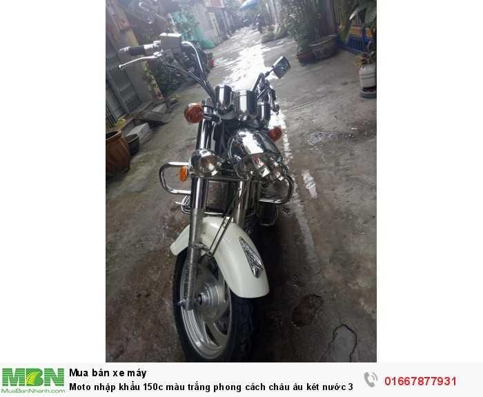 Moto nhập khẩu 150c màu trắng phong cách châu âu két nước 3 pô,