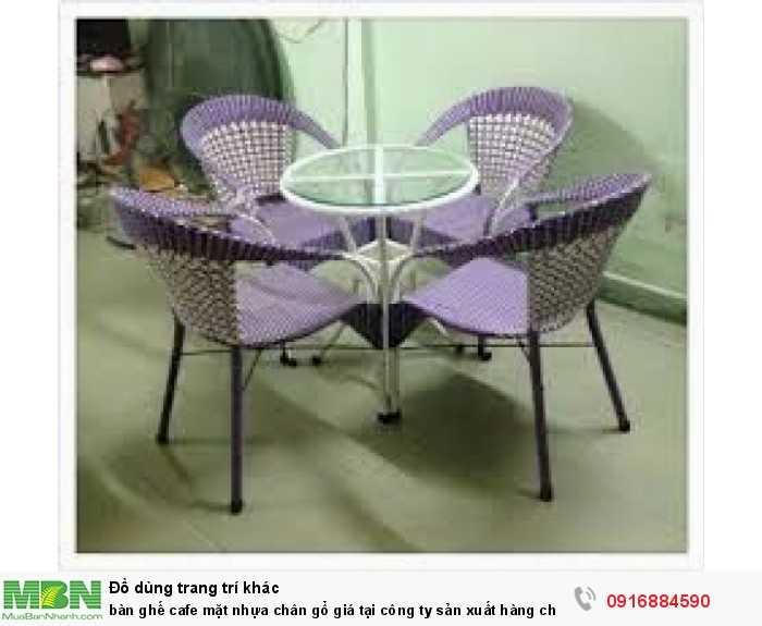 Bàn ghế cafe mặt nhựa chân gổ giá tại công ty sản xuất hàng chất lượng1
