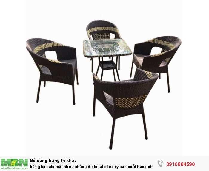 Bàn ghế cafe mặt nhựa chân gổ giá tại công ty sản xuất hàng chất lượng3