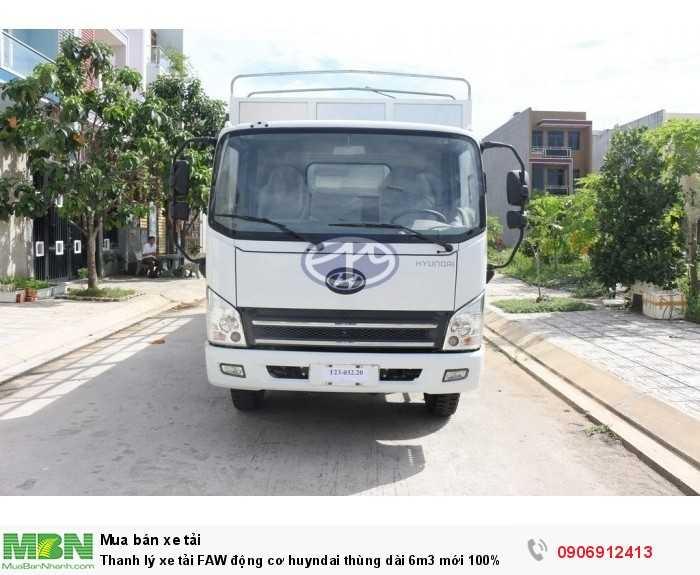 Thanh lý xe tải FAW động cơ huyndai thùng dài 6m3 mới 100%