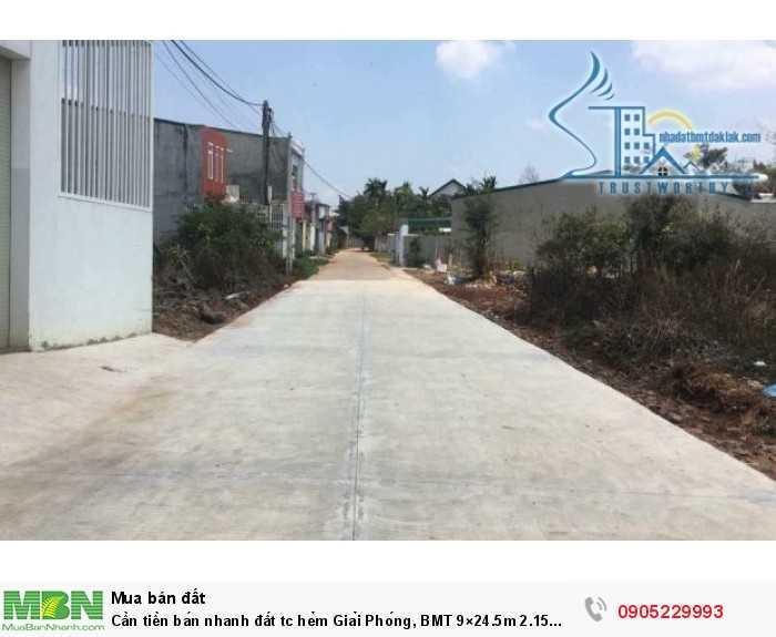 Cần tiền bán nhanh đất tc hẻm Giải Phóng, BMT 9×24.5m